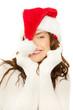 frau mit weihnachtsmütze