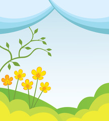 Abstract spring background with hills, flowers and tree