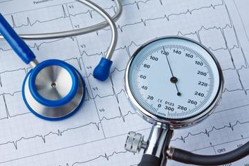 Blutdruck Messung und EKG Kurve.