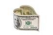 Dollar Geldschein in Herzform