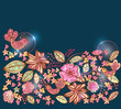 Beautiful colorful floral background with birds