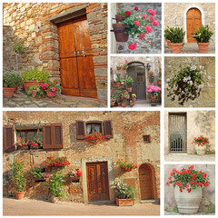 collage of flowery doorways to the tuscan houses