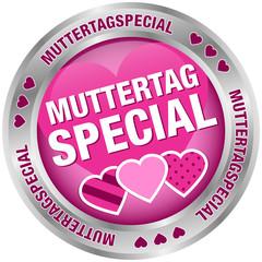 Button Muttertagspecial Herzen pink/silber
