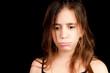 Sad melancholic girl crying