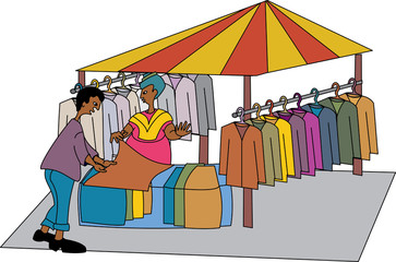 Black woman vendor selling clothing at market