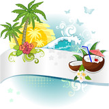 Banner and tropical coconut