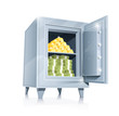 open metallic safe with gold and money vector illustration