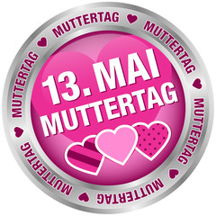 "Button ""13. Mai Muttertag"" pink/silber"