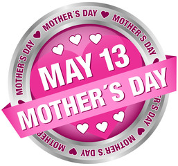 "Button Banner ""May 13 Mother´s Day"" Pink/Silver"