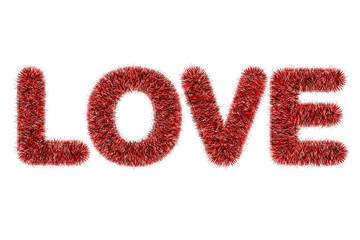 text love with tinsel pattern on white background