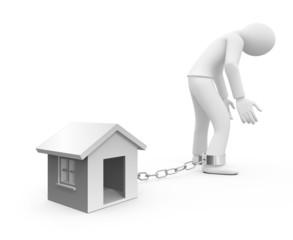 Personnage 3d prisonnier d'une dette immobilière