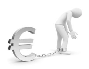 Personnage 3d prisonnier d'une dette ou de l'euro