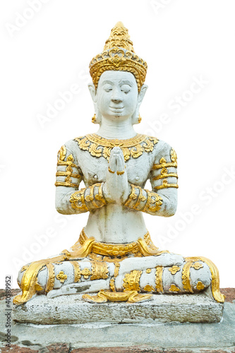 The deity in Buddhism isolated on white background