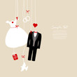Hanging Wedding Symbols Beige Background