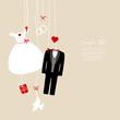 Hanging Wedding Symbols Beige Background