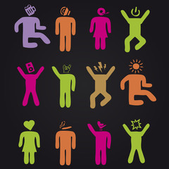 Colorful dancing people of music festival. Icon set.
