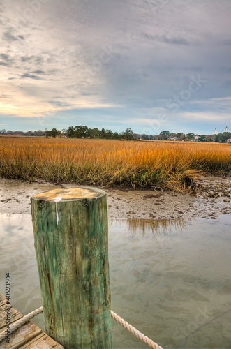 A Dock Next to the Marsh on a Cloudy Day - South Carolina