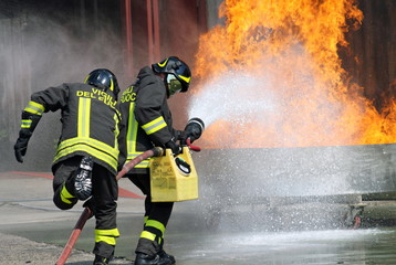 firefighters in action during an exercise in the Firehouse