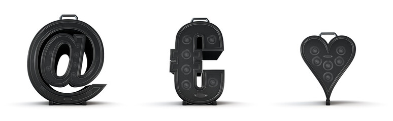 Amplifier alphabet email euro heart