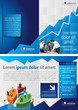 Blue chart template for advertising with business people