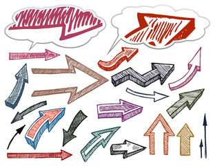 Hand drawn arrows illustration set