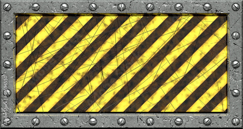 Warning background with metallic borders