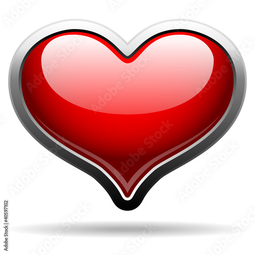 glossy heart in metal frame