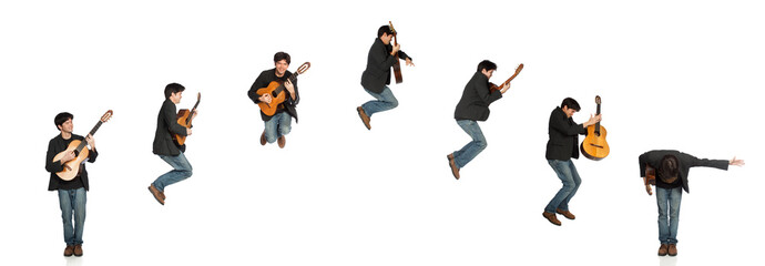 Guitar Player Jumping Sequence