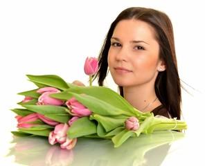 femme avec bouquet isolé