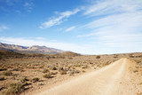 Dirt road in arid region leading away from viewer poster