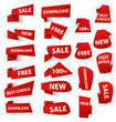 Set of red origami paper banners and stickers