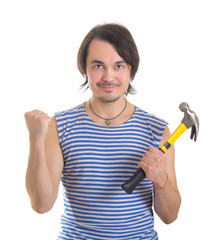 Handsome man with hammer. Isolated on white background
