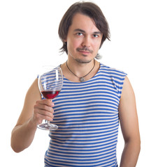 Man holding a glass of wine, isolated on white background