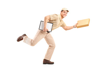 Delivery boy in a rush delivering a package