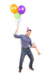 Full length portrait of a happy male holding balloons and a horn