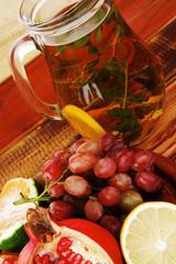 tea pot and fruits