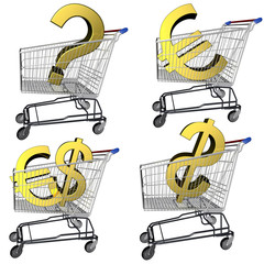 Dollars and euro in the shopping cart.