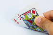 Pocker hand showing a pair of aces