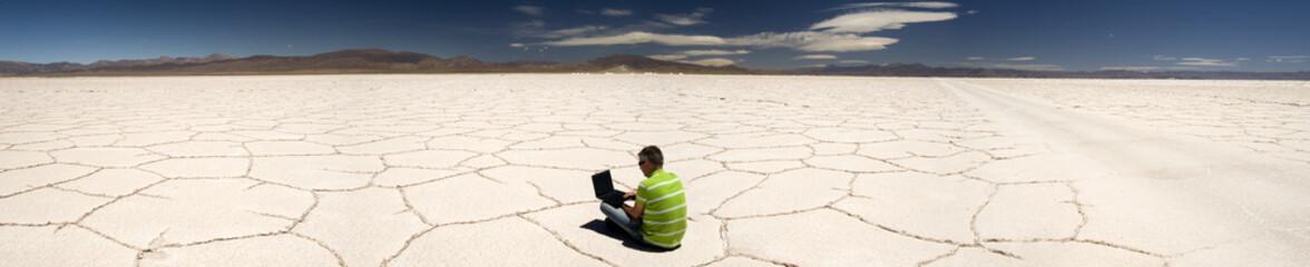Business man in the desert
