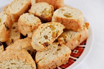 close up of appetizing brown cakes with raisins