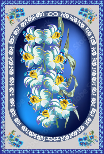 blue and grey flower decoration