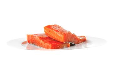fresh smoked salmon on white plate