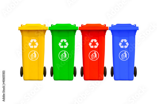 Large colorful trash cans collection - 40605183