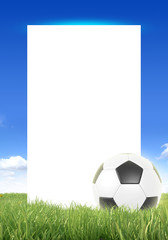 soccer ball frame against the blue sky