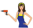 Attractive woman with a drilling machine