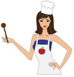 Attractive woman in apron cooking