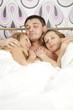 sleeping man with two women