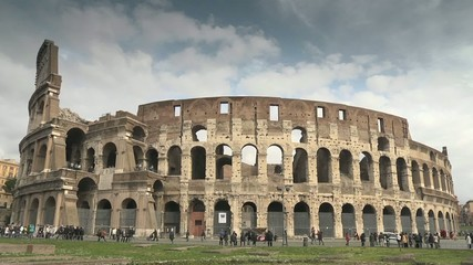 Colosseum and city view of Rome, Italy