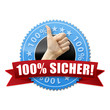 100% Sicher! Button, Icon
