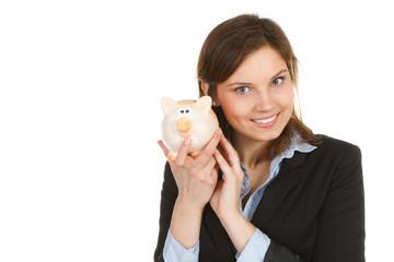 glückliche junge frau mit sparschwein